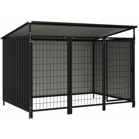 vidaXL Outdoor Dog Kennel 193x133x116 cm - Grey