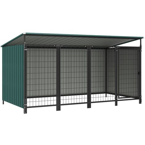 vidaXL Outdoor Dog Kennel 253x133x116 cm - Green