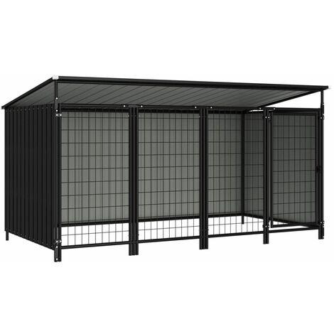vidaXL Outdoor Dog Kennel 253x133x116 cm - Grey