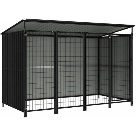 vidaXL Outdoor Dog Kennel 253x133x164 cm - Grey