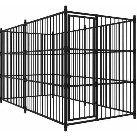 vidaXL Outdoor Dog Kennel 300x150x185 cm - Black