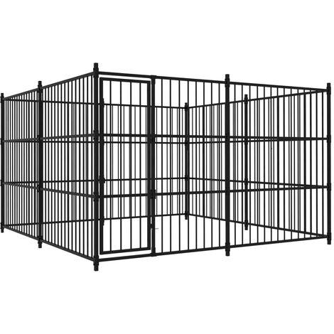 vidaXL Outdoor Dog Kennel 300x300x185 cm - Black
