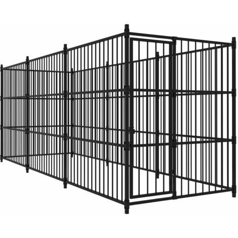 vidaXL Outdoor Dog Kennel 450x150x185 cm - Black