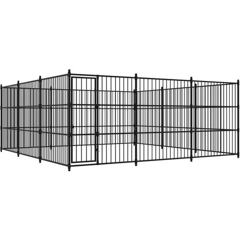 vidaXL Outdoor Dog Kennel 450x450x185 cm - Black