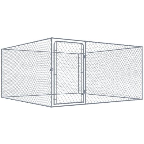 vidaXL Outdoor Dog Kennel Galvanised Steel 2x2x1 m - Silver