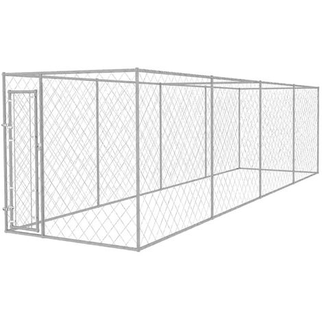 vidaXL Outdoor Dog Kennel Pet House Cage Play Centre Galvanised Steel 2 Sizes
