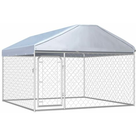 vidaXL Outdoor Dog Kennel with Roof 200x200x135 cm - Silver