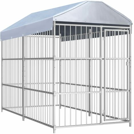 vidaXL Outdoor Dog Kennel with Roof 300x150x200 cm - Silver