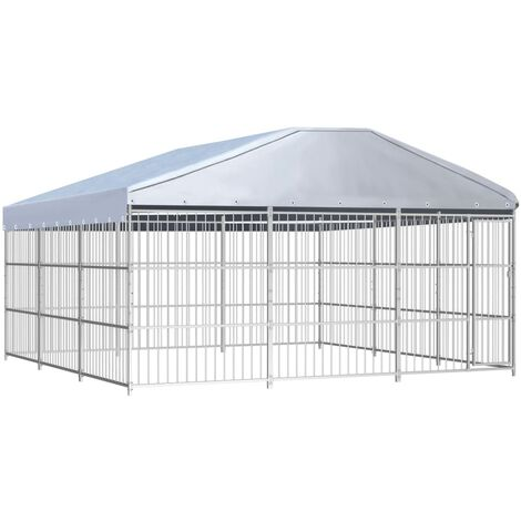 vidaXL Outdoor Dog Kennel with Roof 450x450x200 cm - Silver