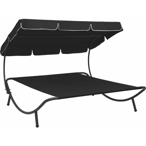 vidaXL Outdoor Lounge Bed with Canopy Black - Black