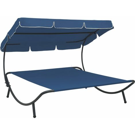 vidaXL Outdoor Lounge Bed with Canopy Blue - Blue
