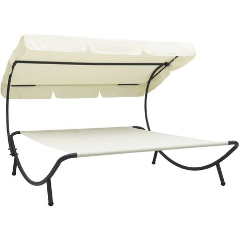 vidaXL Outdoor Lounge Bed with Canopy Cream White - White