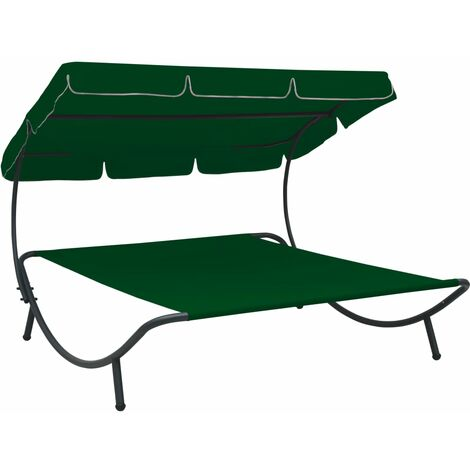 vidaXL Outdoor Lounge Bed with Canopy Green - Green