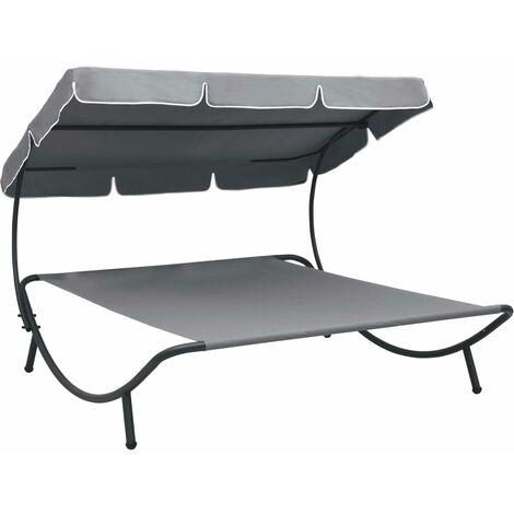 vidaXL Outdoor Lounge Bed with Canopy Grey - Grey