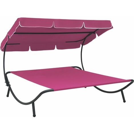 vidaXL Outdoor Lounge Bed with Canopy Pink - Pink