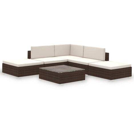 vidaXL Outdoor Lounge Set 15 Pieces Poly Rattan Furniture Seat Brown/Black