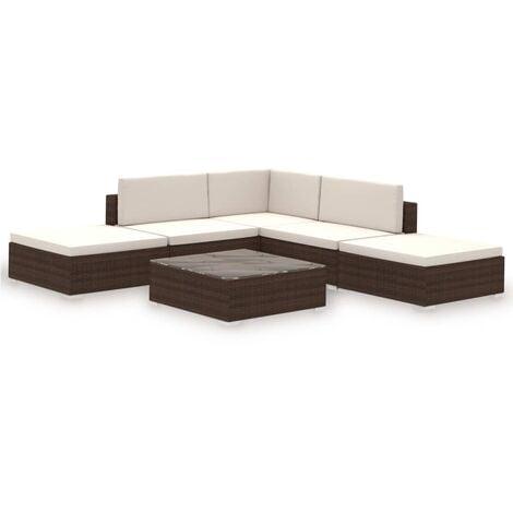 vidaXL Outdoor Lounge Set 15 Pieces Poly Rattan Furniture Seat Brown/Black