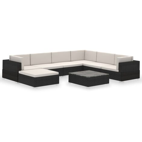 vidaXL Outdoor Lounge Set 24 Pieces Poly Rattan Garden Sofa Seat Brown/Black
