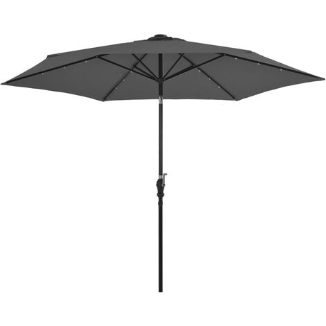 vidaXL Outdoor Parasol with LED Lights and Steel Pole 300cm Anthracite - Anthracite