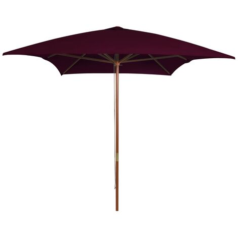 vidaXL Outdoor Parasol with Wooden Pole Bordeaux Red 200x300 cm - Red