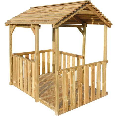 vidaXL Outdoor Pavilion Playhouse 122.5x160x163 cm Pinewood - Brown