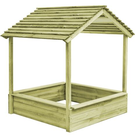 vidaXL Outdoor Playhouse with Sandpit 128x120x145 cm Pinewood - Brown