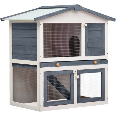 vidaXL Outdoor Rabbit Hutch 3 Doors Grey Wood - Grey