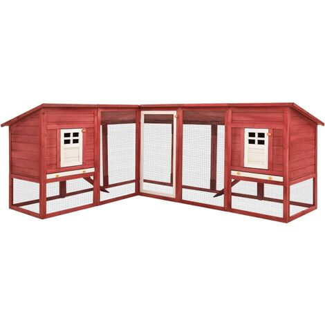 vidaXL Outdoor Rabbit Hutch with Run Red and White Solid Fir Wood - Red