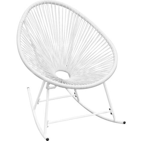 vidaXL Outdoor Rocking Chair Poly Rattan Patio Porch Garden Wooden Chair Sun Lounger Seat Armchair Living room Home Indoor Black/White
