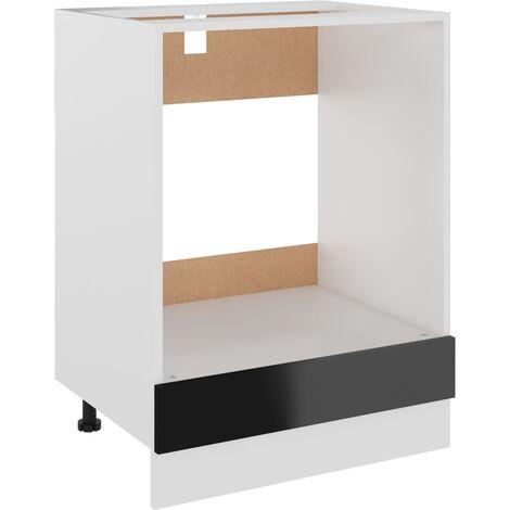 vidaXL Oven Cabinet High Gloss Black 60x46x81.5 cm Chipboard - Black