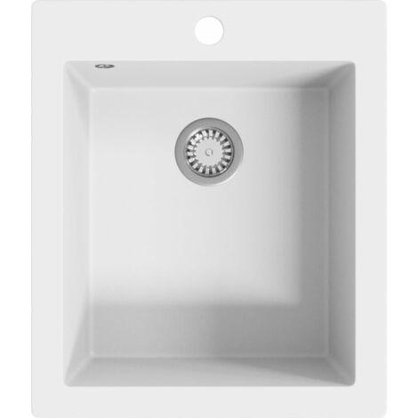 vidaXL Overmount Kitchen Sink Single Basin Granite Cream White - Cream