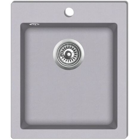 vidaXL Overmount Kitchen Sink Single Basin Granite Grey - Grey