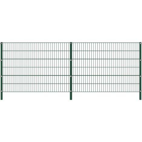 vidaXL Panel de valla con postes de hierro verde 3,4x1,2 m - Verde