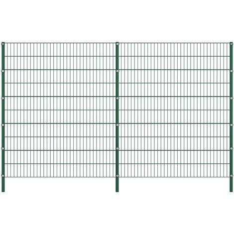 vidaXL Panel de valla con postes de hierro verde 3,4x2 m - Verde