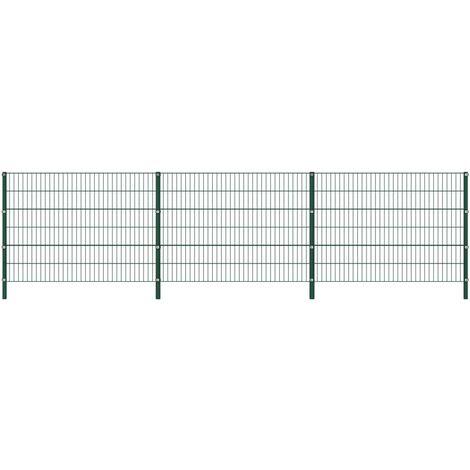 vidaXL Panel de valla con postes de hierro verde 5,1x1,2 m - Verde