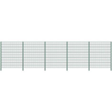 vidaXL Panel de valla con postes de hierro verde 8,5x2 m - Verde