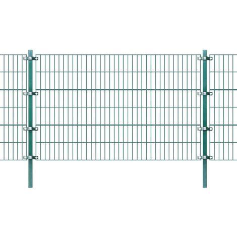 vidaXL Panel de valla con postes hierro 6x1,2 m verde (no se puede enviar a Baleares)
