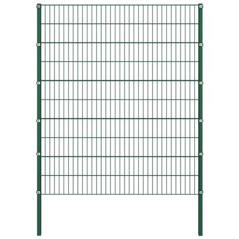 vidaXL Panel de valla con postes hierro verde 1,7x2 m - Verde