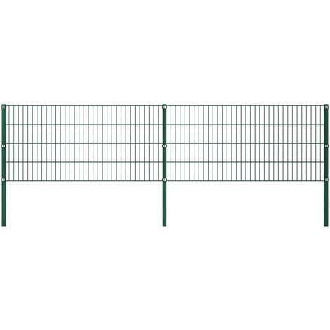 vidaXL Panel de valla con postes hierro verde 3,4x0,8 m - Verde
