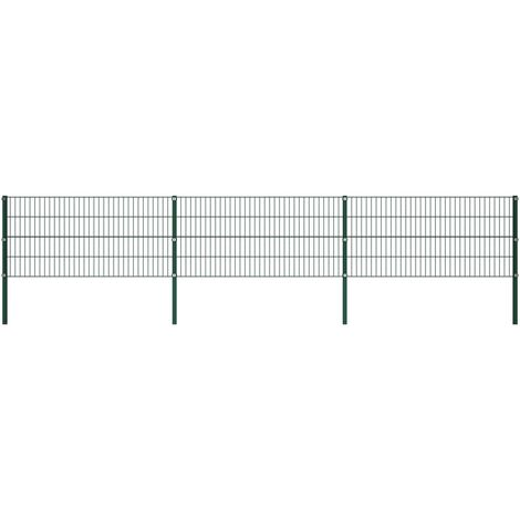 vidaXL Panel de valla con postes hierro verde 5,1x0,8 m - Verde