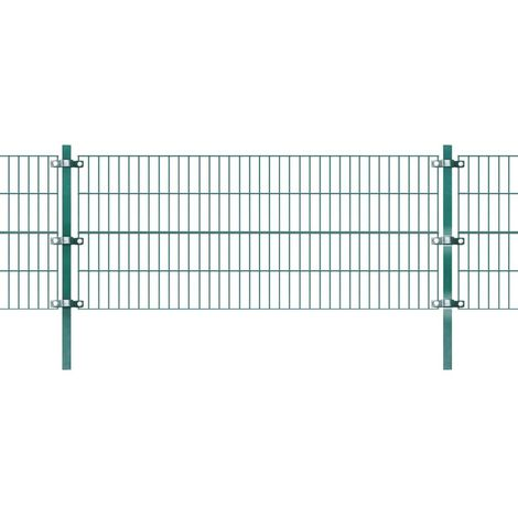 vidaXL Panel de valla con postes hierro verde 6x0,8 m (no se puede enviar a Baleares)