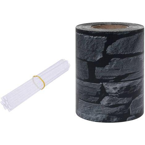vidaXL Panel de valla de PVC gris aspecto piedra 35x0,19 m - Gris