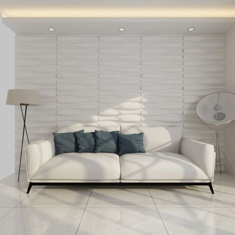 vidaXL Panel Mural 3D Ondas 12 Paneles 6 m² 0,625x0,8 m - Blanco