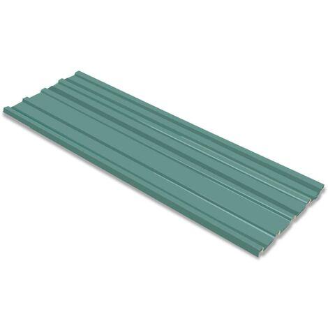 vidaXL Panel para tejado acero galvanizado verde 12 unidades