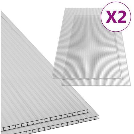 vidaXL Paneles de policarbonato 2 unidades 4,5 mm 150x65 cm