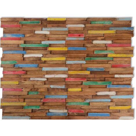 vidaXL Paneles de revestimiento de pared 10 uds 1 m² de teca - Multicolor