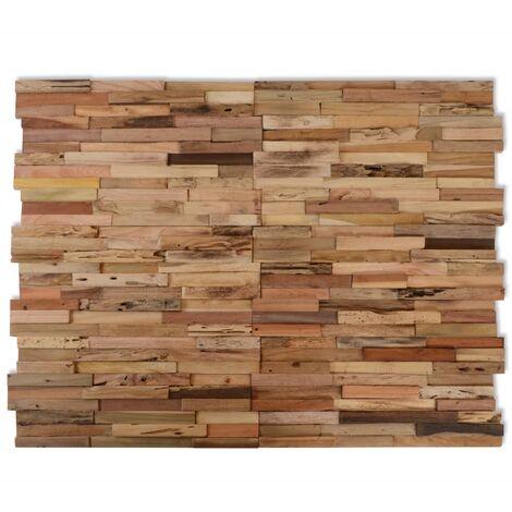 vidaXL Paneles de revestimiento de pared 10 uds 1 m² de teca reciclada - Marrón