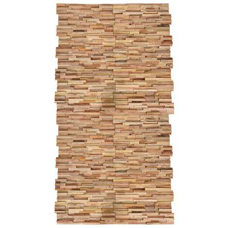 vidaXL Paneles de revestimiento de pared 3D 20 uds teca maciza 2 m² - Marrón