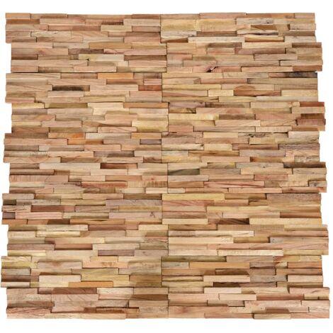vidaXL Paneles revestimiento de pared 3D 10 piezas teca maciza 1 m² - Marrón