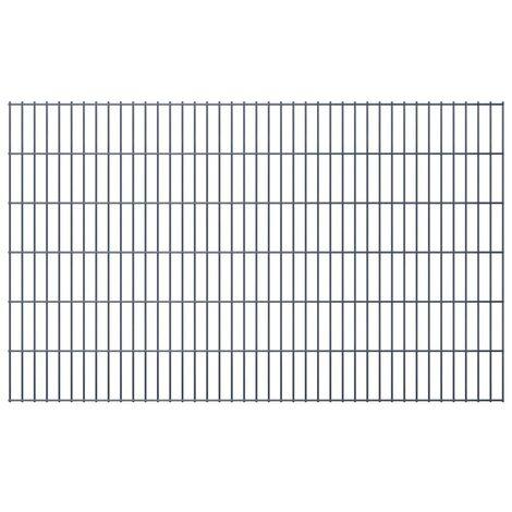 vidaXL Panneaux de Clôture 2D pour Jardin Gris Grillage Barrière Forêt Balcon Terrasse Extérieur Enclos pour Animaux de Compagnie Multi-taille